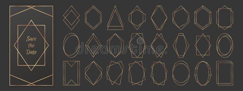 暗灰色背景上的金多边形框架集合 向量例证