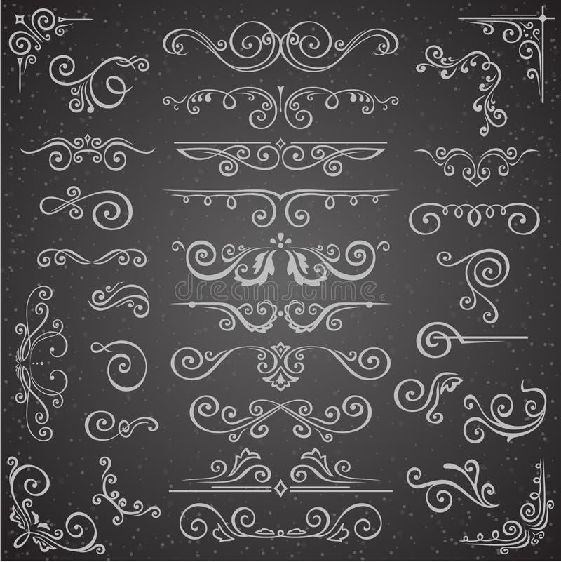 黑暗的传染媒介套框架设计的漩涡元素 书法页装饰、标签、横幅、古董和巴落克式样 库存例证