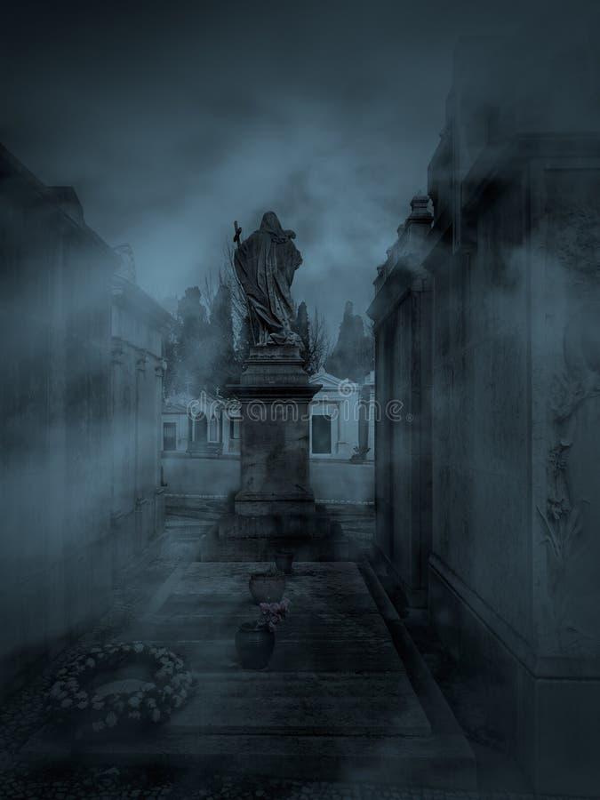 黑暗的公墓 免版税库存照片