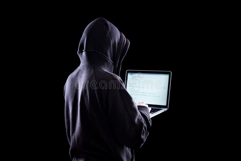 黑暗的匿名黑客 图库摄影