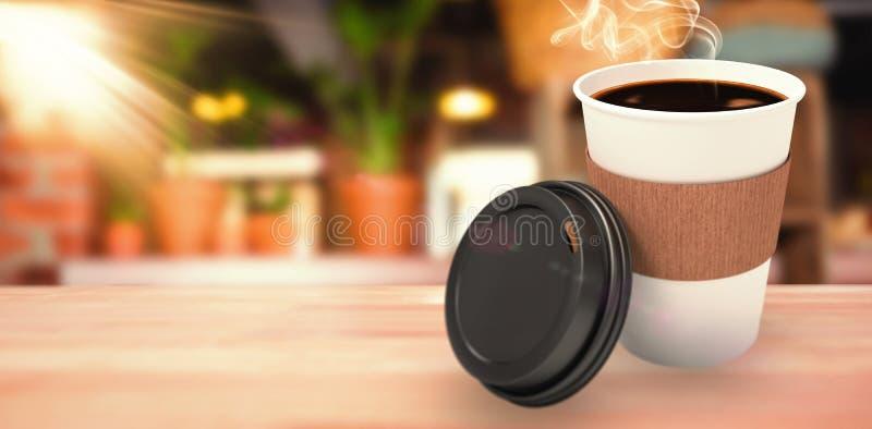 黑暗的咖啡的综合图象在白色杯子的在白色背景 向量例证