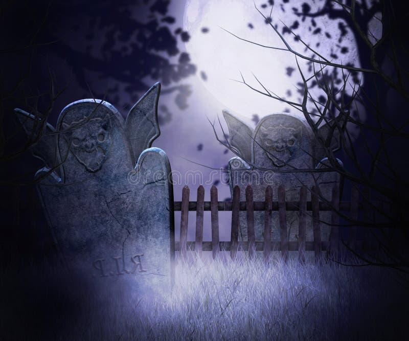 黑暗的坟园背景 库存例证