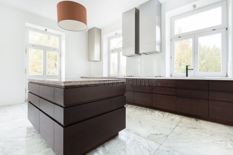 黑暗的家具在现代厨房里 图库摄影