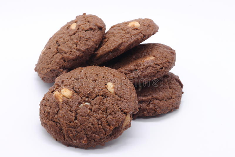 黑暗的巧克力曲奇饼 免版税库存图片