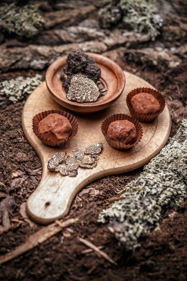 黑暗的巧克力果仁糖 免版税库存图片