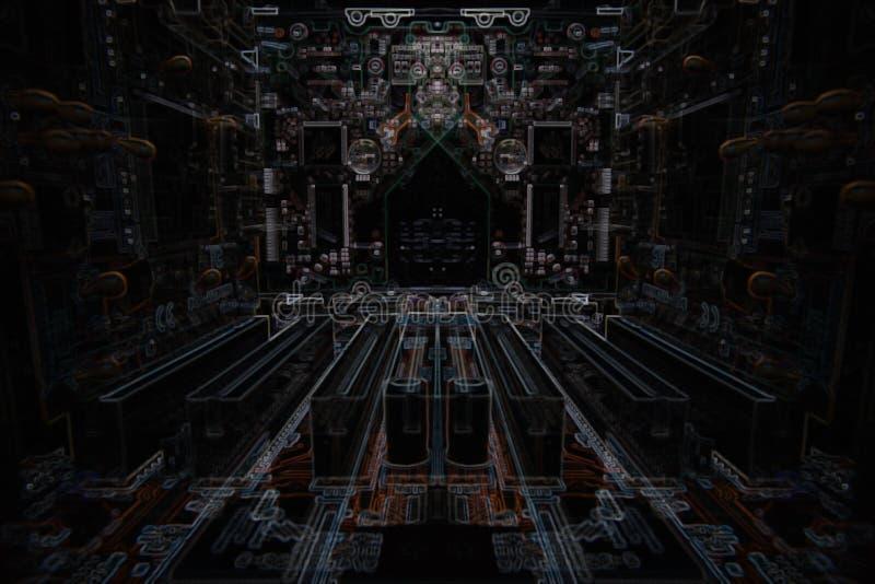 黑暗的微电子学计算机芯片 免版税库存图片