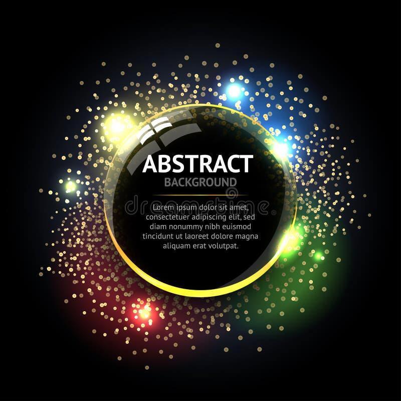 黑暗的抽象圆环背景 与轻的圈子和火花光线影响的金属镀铬物亮光圆的框架 向量例证