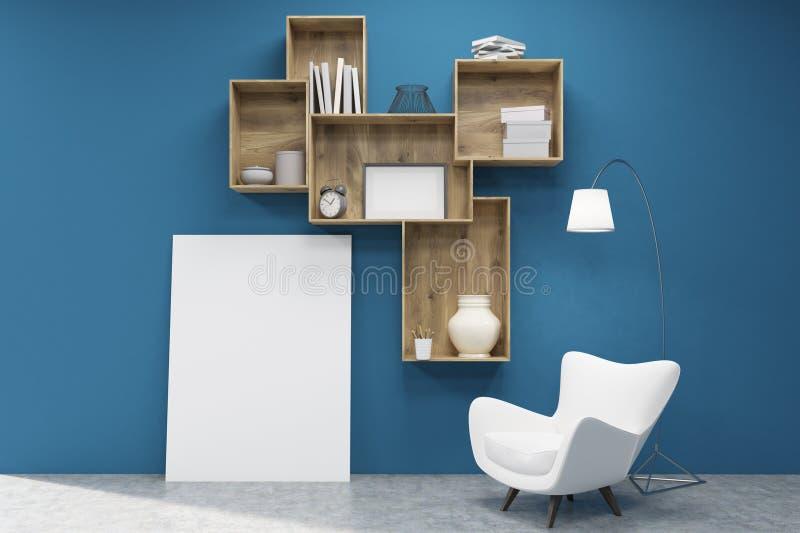 黑暗的木架子、一张海报和一把扶手椅子在蓝色墙壁附近 库存例证