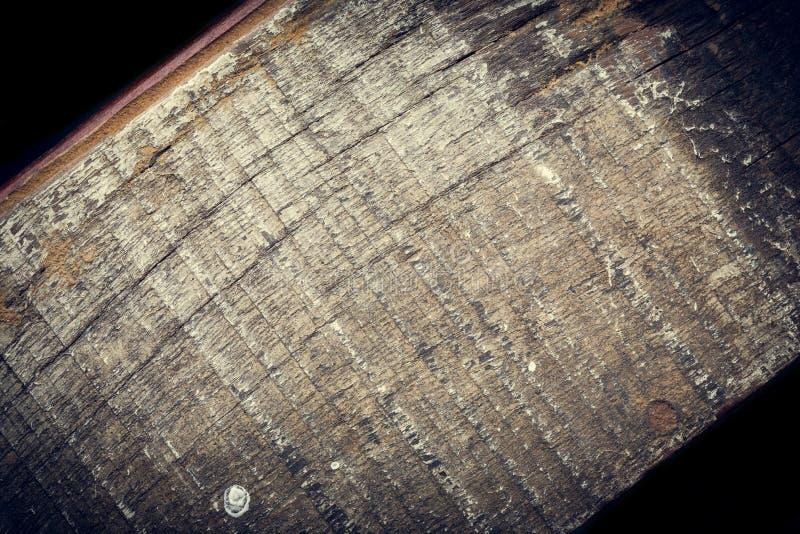 黑暗的木背景,木板概略的五谷表面 库存图片
