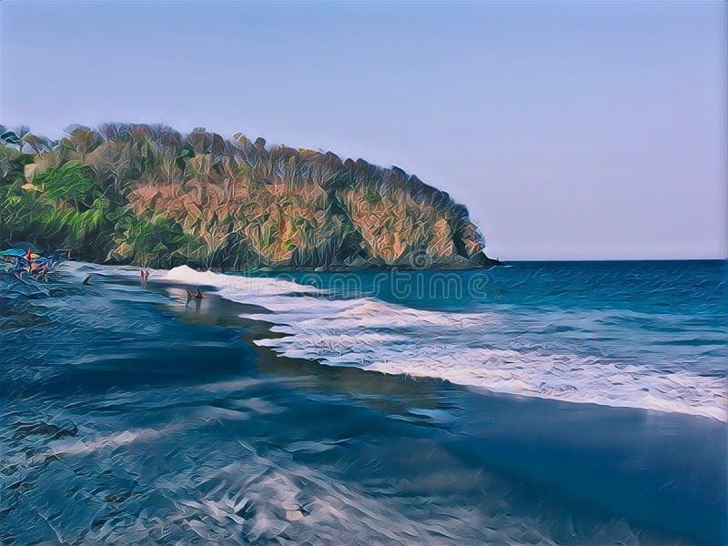黑暗的沙子海滩和海边与遥远的山?数字式例证 免版税图库摄影