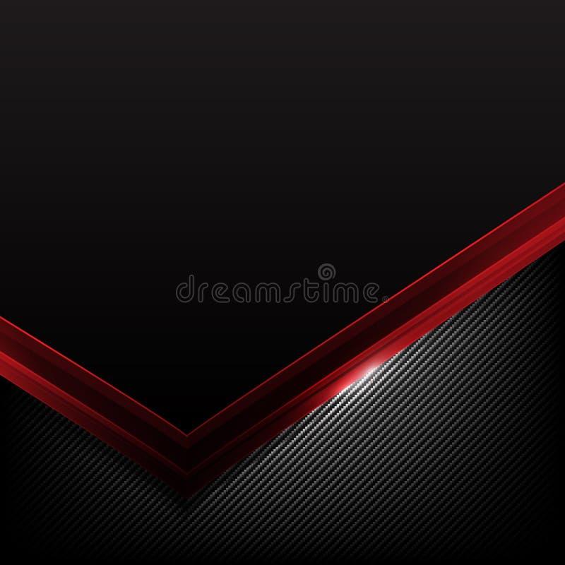黑暗的碳纤维和红色交叠元素提取背景ve 库存例证
