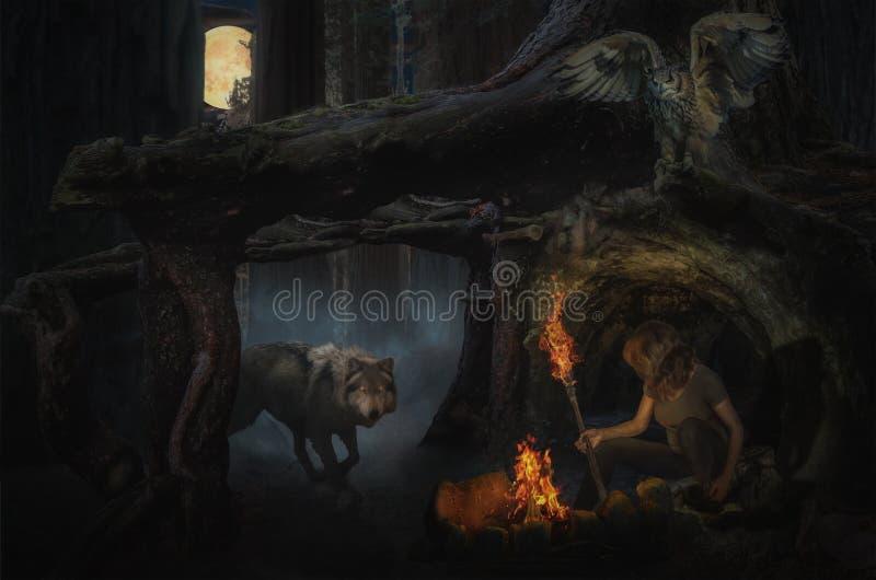 黑暗的神仙的森林 库存例证