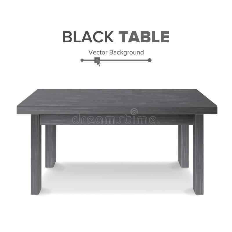 黑暗的空的方形的表,平台 被隔绝的家具,平台 可实现的向量例证 库存例证