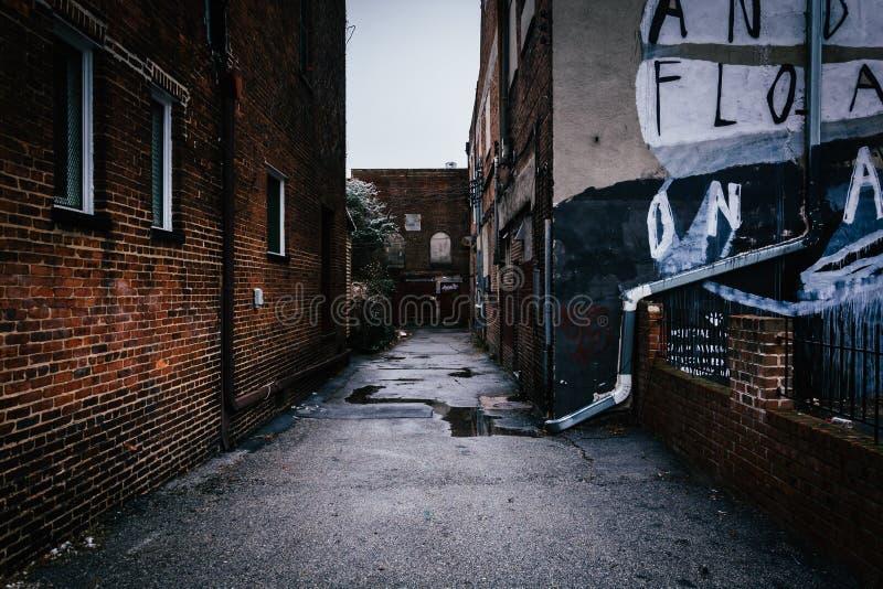 黑暗的胡同和老砖瓦房在巴尔的摩,马里兰 库存图片