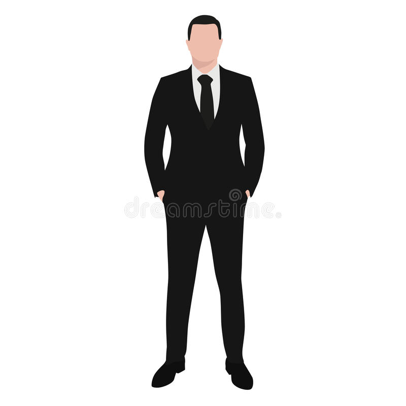 黑暗的衣服的商人和半正式礼服 库存例证
