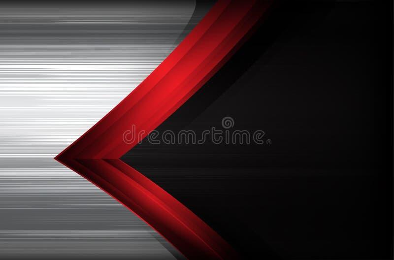 黑暗的镀铬物掠过了钢和红色交叠元素摘要backg 向量例证