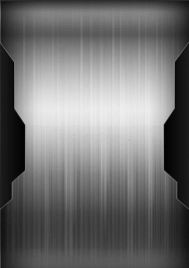 黑暗的镀铬物黑和灰色背景纹理传染媒介illustratio 向量例证