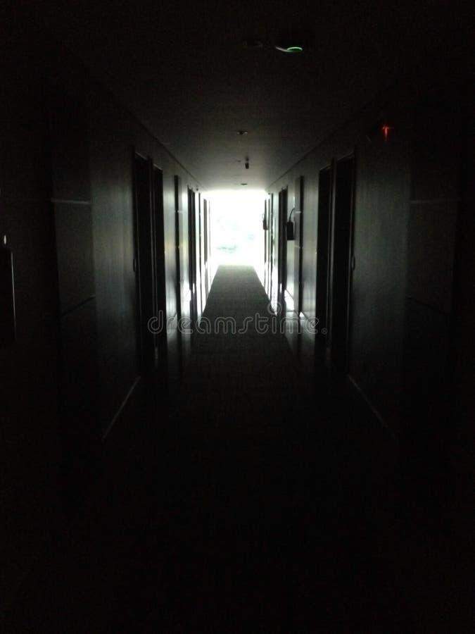 黑暗的令人毛骨悚然的走廊 免版税库存照片
