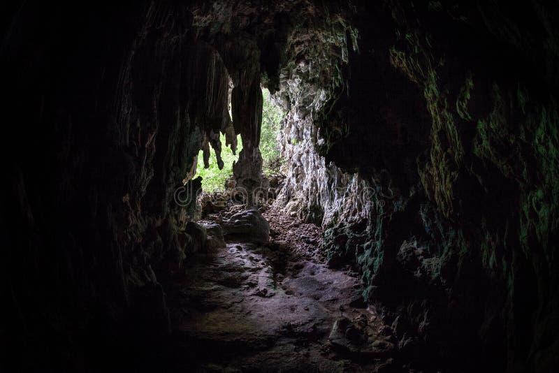 黑暗的洞在遥远的石灰石海岛 免版税库存图片