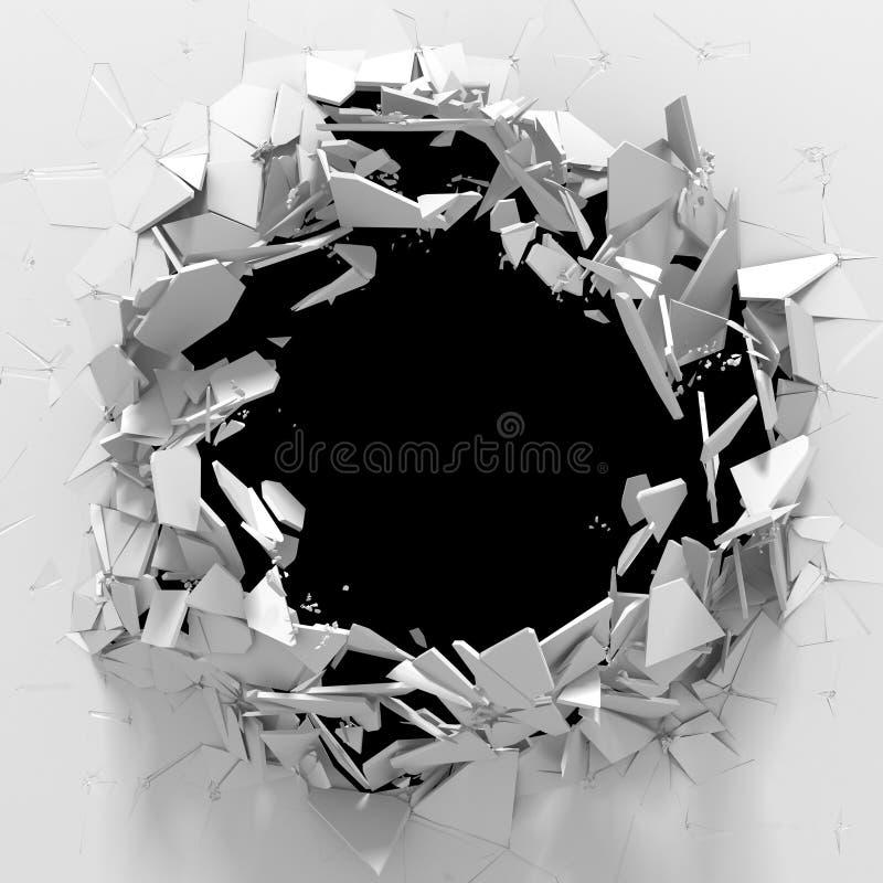 黑暗的破坏崩裂了在白色石墙的孔 皇族释放例证