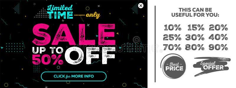 黑暗的水平的超级销售横幅 特价优待,由50%决定的销售 向量例证