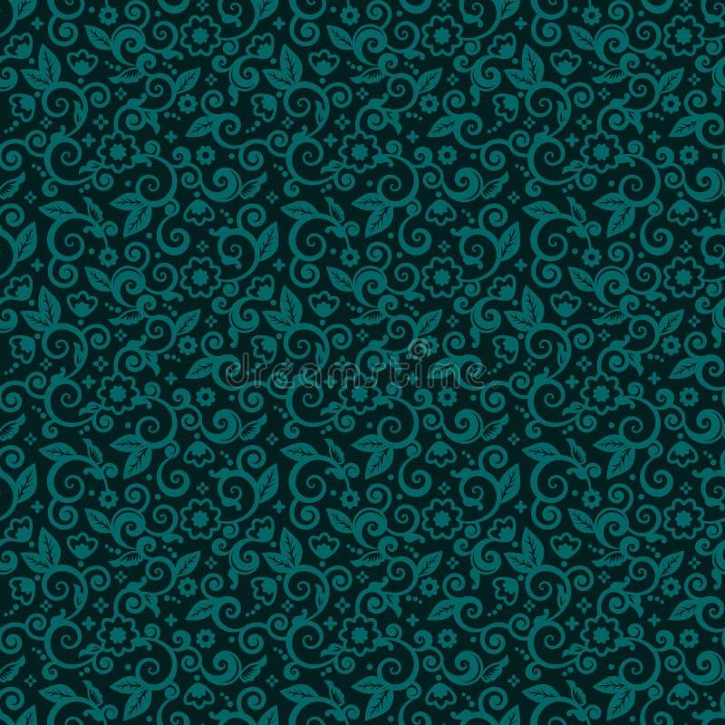 黑暗的绿松石寒假颜色无缝的swirly花卉背景  皇族释放例证
