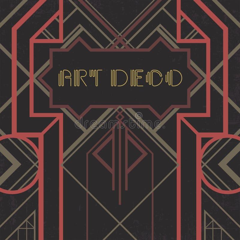 黑暗的artdeco摘要几何背景 库存例证