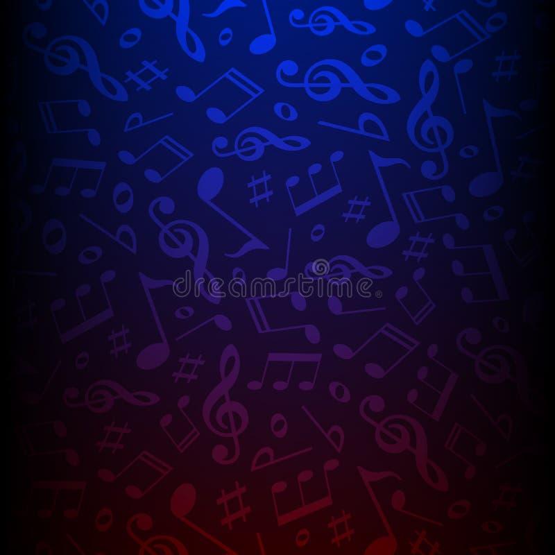 暗色音符传染媒介背景 曲调传染媒介例证 经典音乐样式墙纸 向量例证