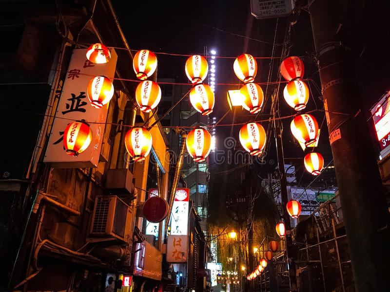 暗藏的日本灯巷道 库存图片