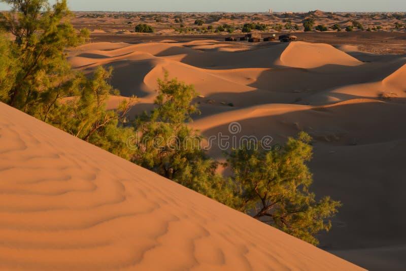 暗藏的流浪的村庄在沙漠 库存照片