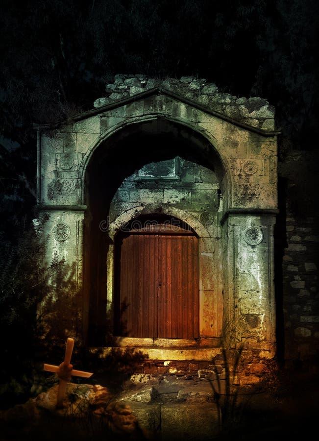 黑暗被困扰的房子 向量例证