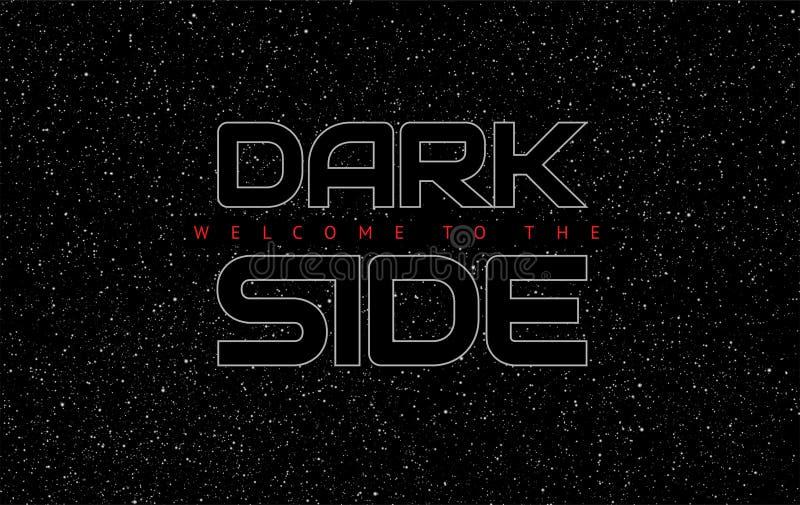 暗边摘要空间黑色背景-在s的发光的信件 库存例证