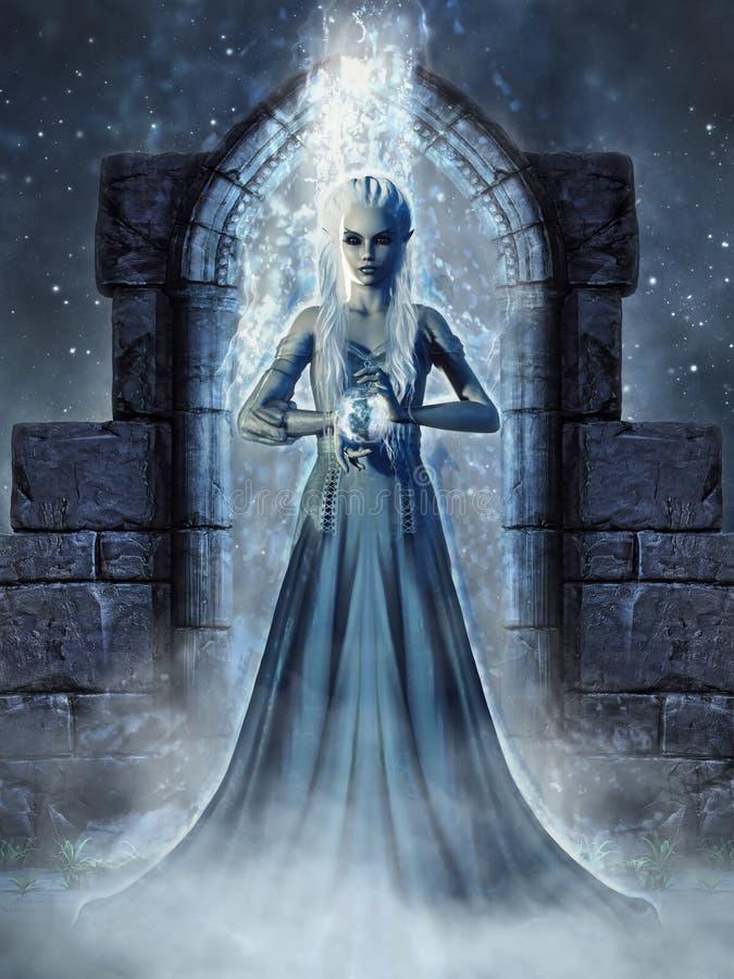 黑暗elven女巫 向量例证