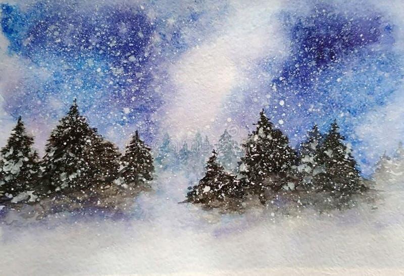 暴风雪在冬天森林里 免版税库存照片