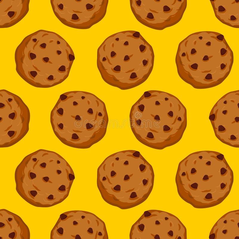 曲奇饼无缝的样式 酥皮点心背景 食物装饰品 Swee 库存例证