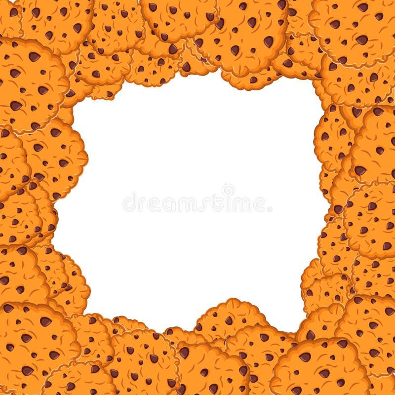 曲奇饼框架 燕麦饼干背景 美好的薄脆饼干束 皇族释放例证