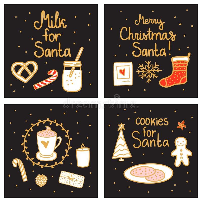 曲奇饼牛奶圣诞老人 圣诞快乐不可思议的夜招呼的集合卡片模板 传染媒介例证手拉的北欧样式 向量例证