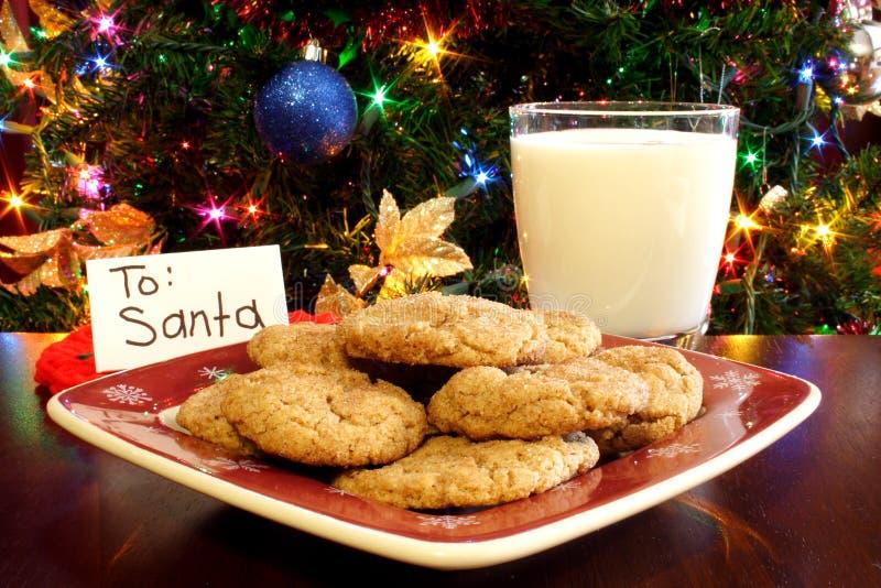 曲奇饼牛奶圣诞老人 免版税库存照片