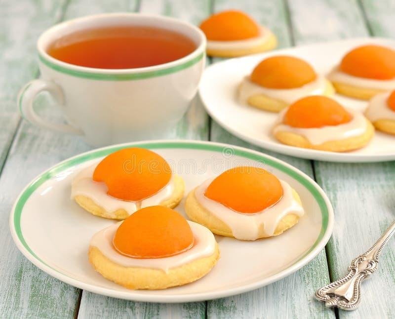 曲奇饼用杏子和糖结冰 免版税库存照片