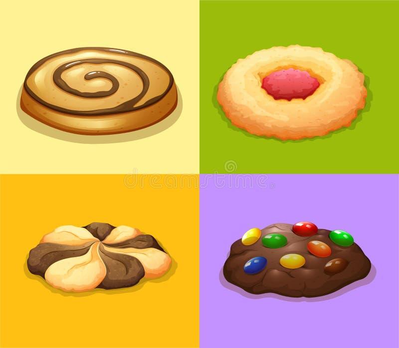 曲奇饼的四种类型 库存例证