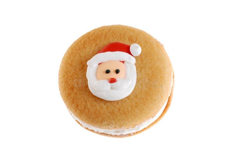曲奇饼表面圣诞老人顶视图 库存图片