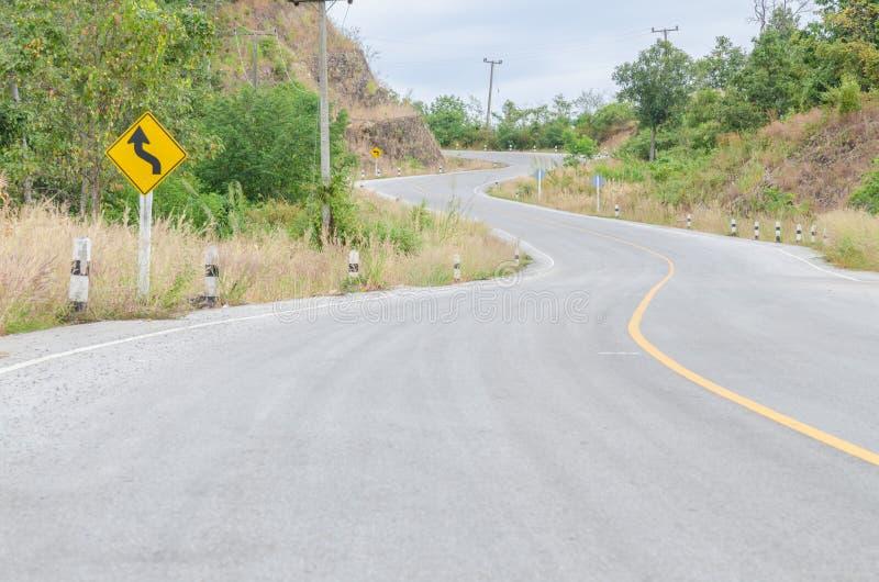 曲折的山路,泰国 免版税图库摄影