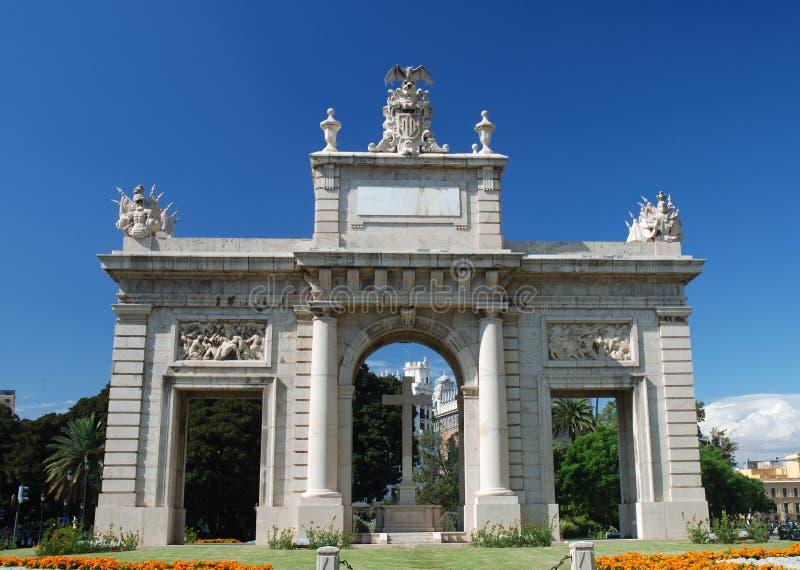曲拱凯旋式巴伦西亚 库存图片