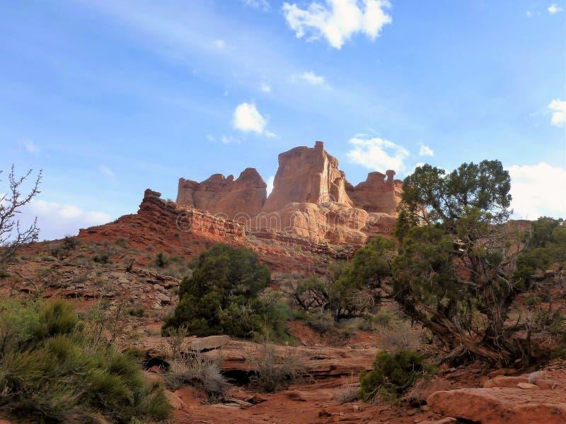 曲拱和峡谷地国家公园默阿布犹他 免版税库存图片