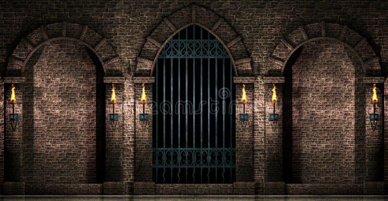 曲拱和铁门 库存例证