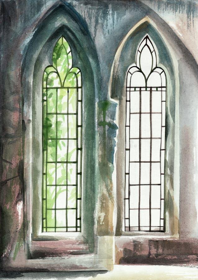 曲拱哥特式窗口 库存例证