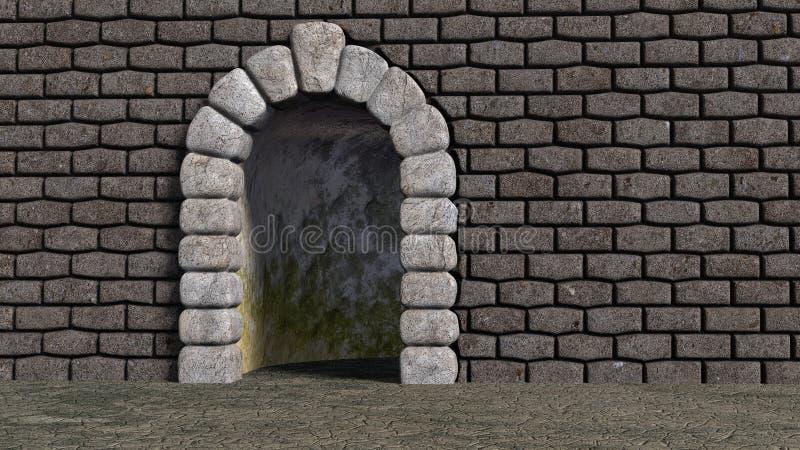 曲拱巨大与砖墙 向量例证