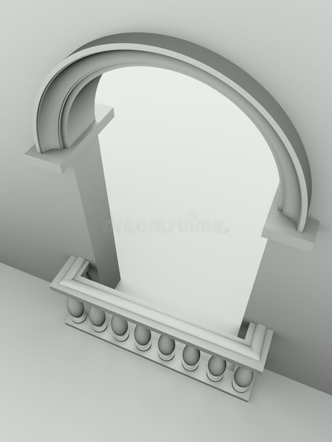 曲拱楼梯栏杆门道入口 库存例证