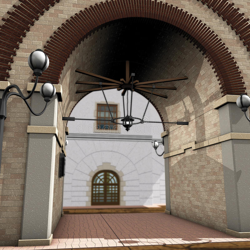 曲拱画廊房子 库存例证