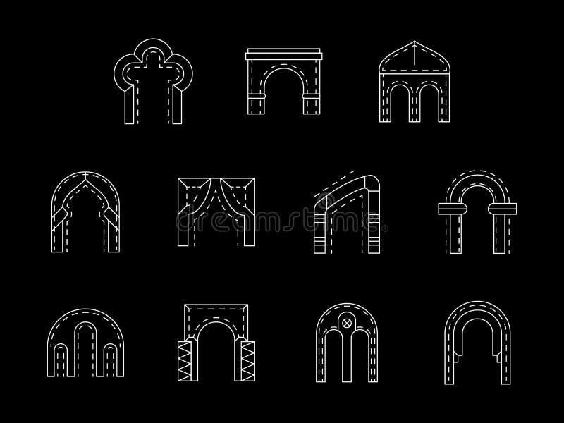曲拱空白线路象汇集的类型 皇族释放例证